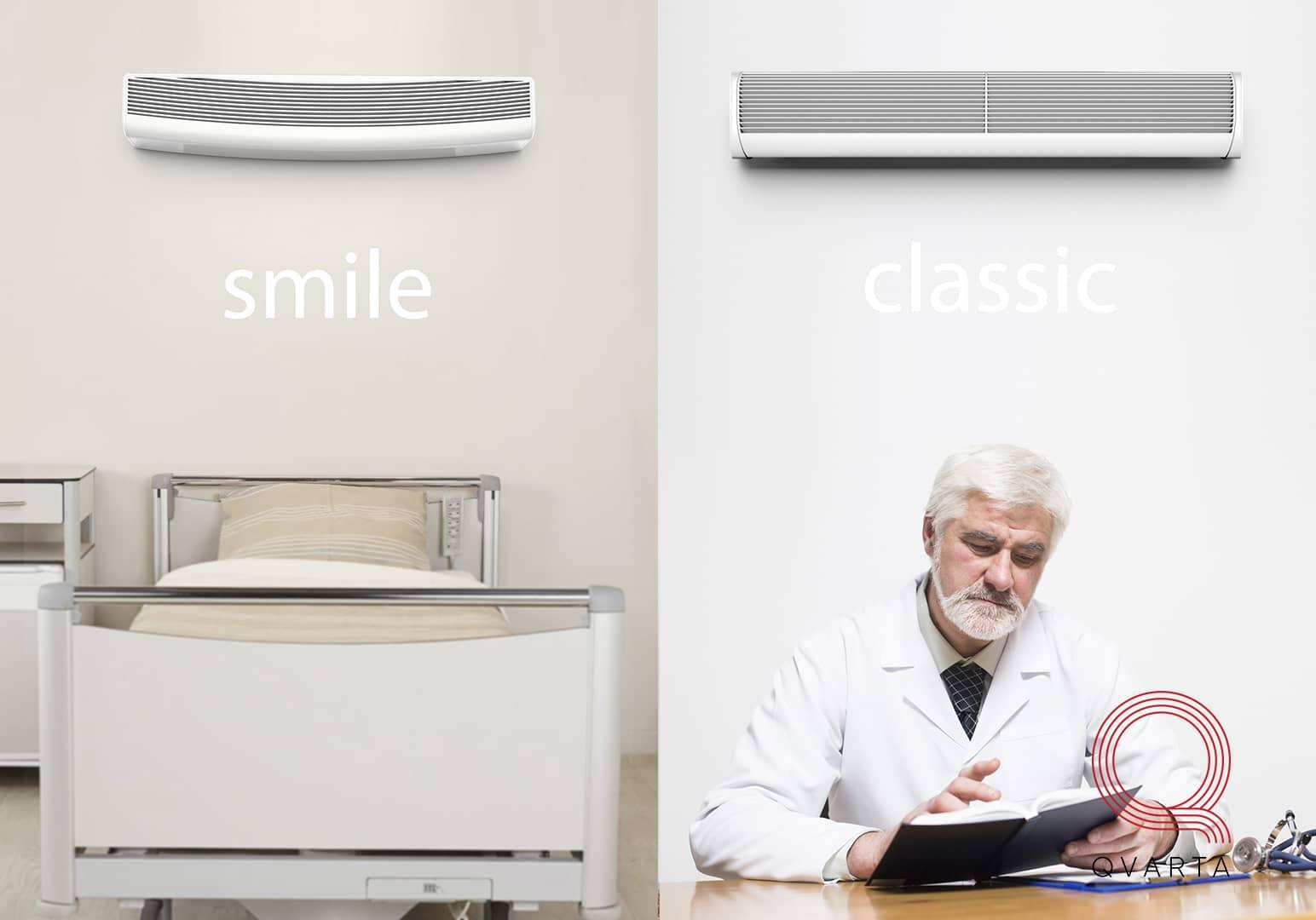 Примеры дизайна УФ ламп Smile и классической форм.