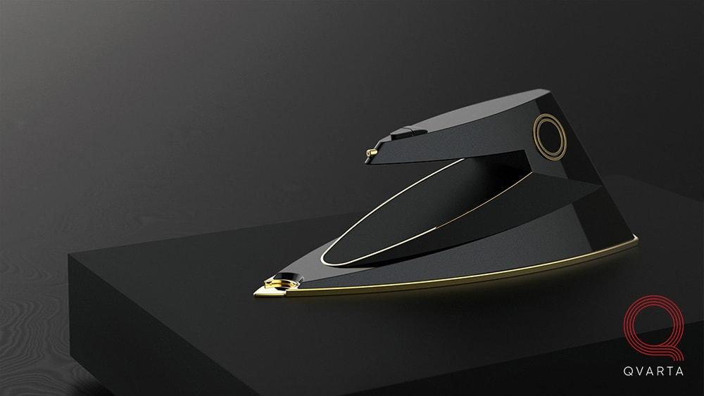 Дизайнерский утюг разработанный студией промдизайна Qvarta. Вид полностью.