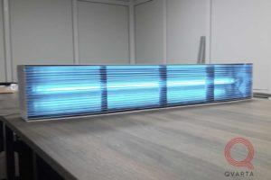 Прототип УФ лампы в работе.