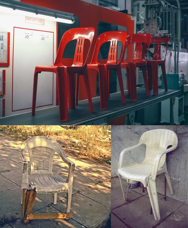 Цлые и сломанные стулья, которые вдохновили на дизайн.