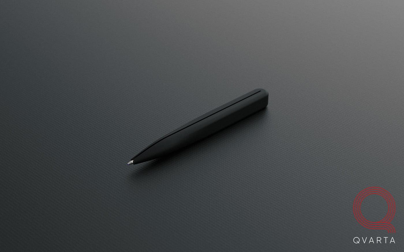 Ручка с лого Qvarta, вид сбоку.