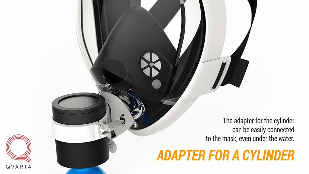Воздушный клапан на маске для снорклинга.